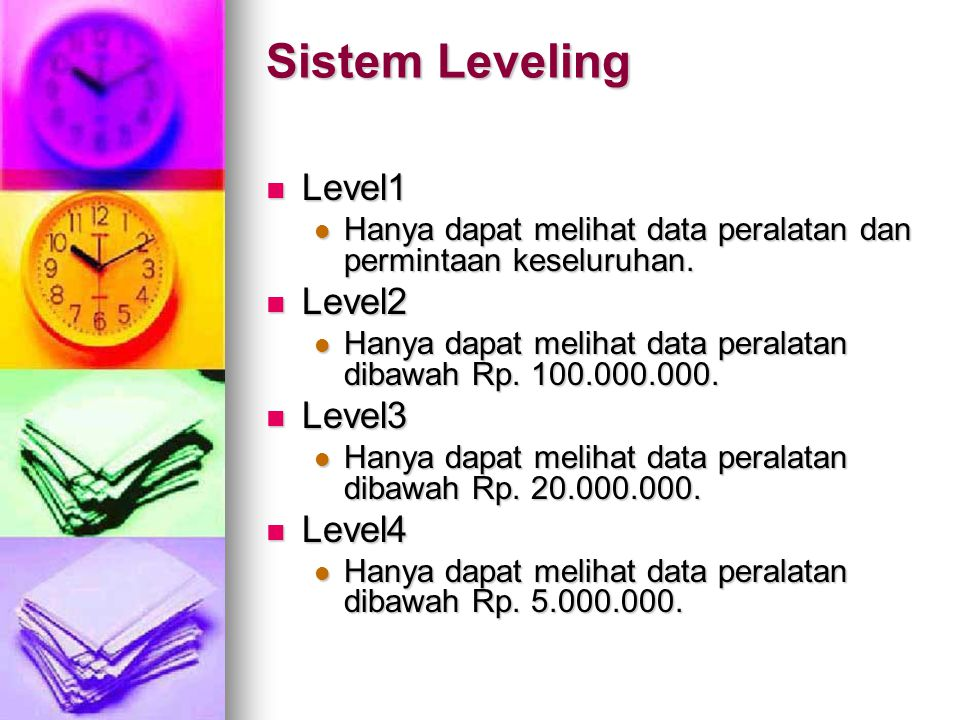 Sistem Leveling Level1 Level2 Level3 Level4
