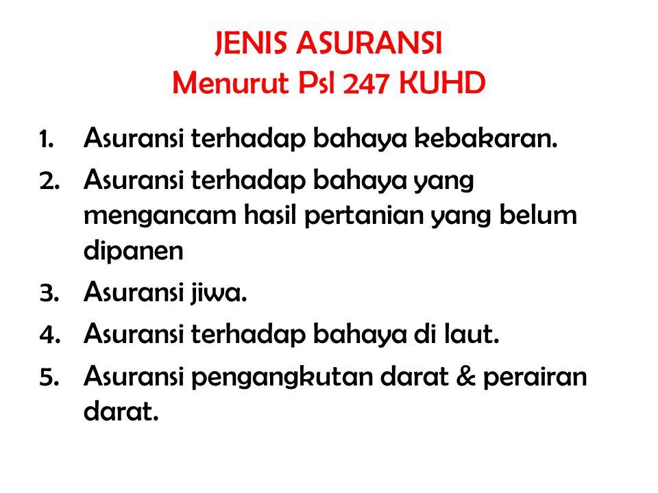 JENIS ASURANSI Menurut Psl 247 KUHD