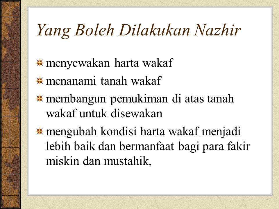Yang Boleh Dilakukan Nazhir