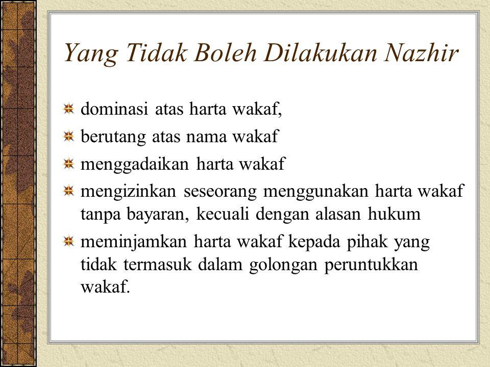Yang Tidak Boleh Dilakukan Nazhir