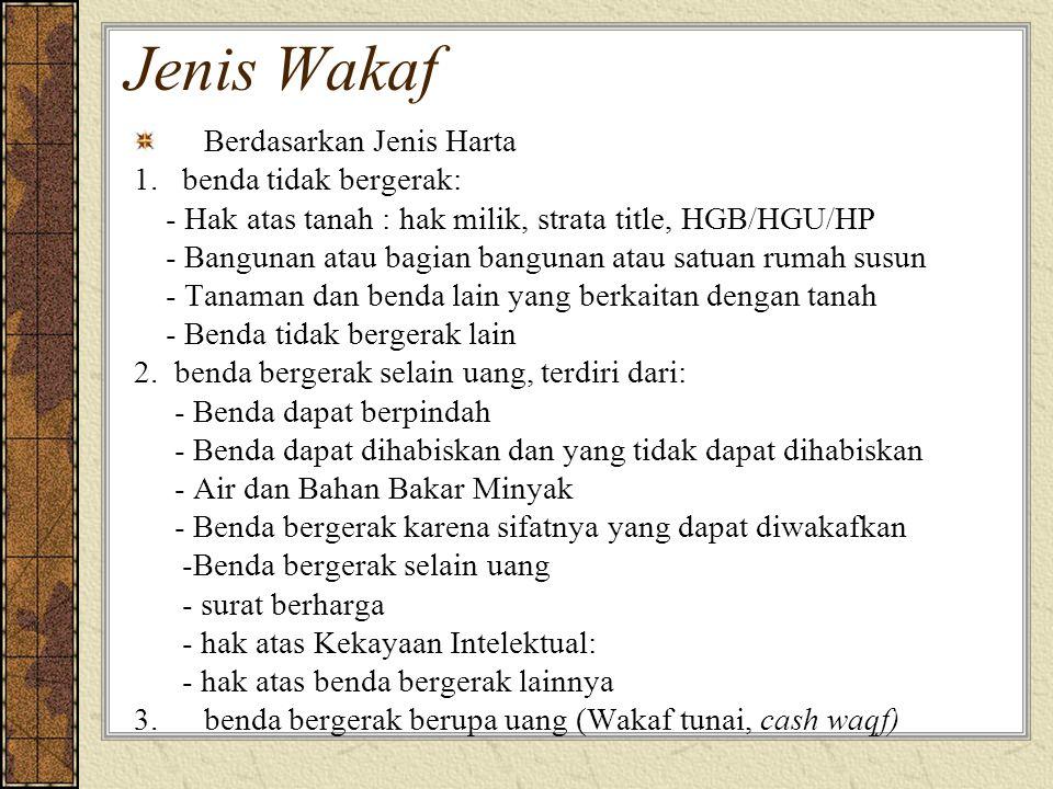 Jenis Wakaf Berdasarkan Jenis Harta 1. benda tidak bergerak: