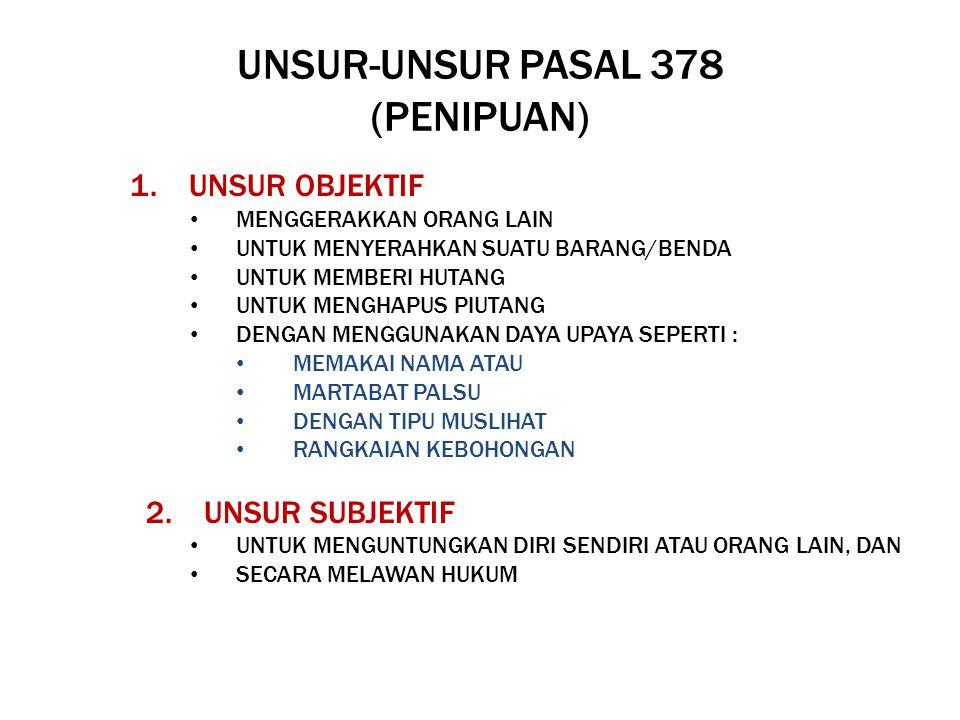 UNSUR-UNSUR PASAL 378 (PENIPUAN)