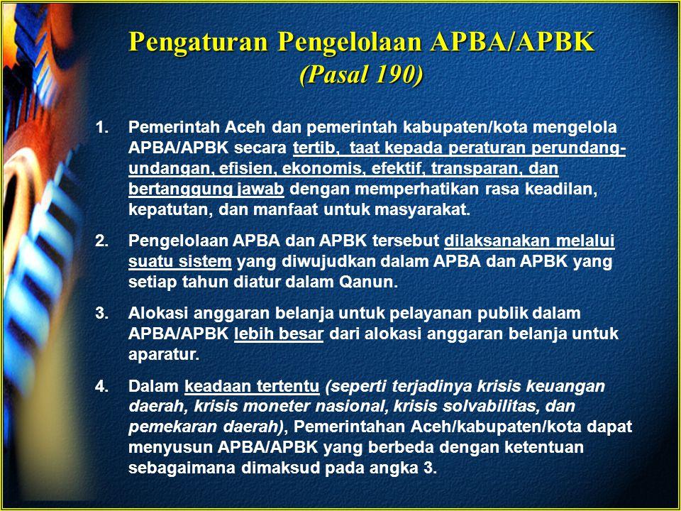 Pengaturan Pengelolaan APBA/APBK (Pasal 190)