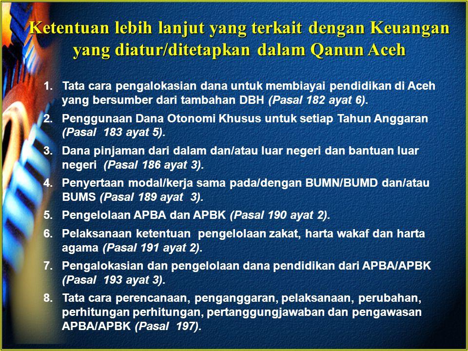 Ketentuan lebih lanjut yang terkait dengan Keuangan yang diatur/ditetapkan dalam Qanun Aceh