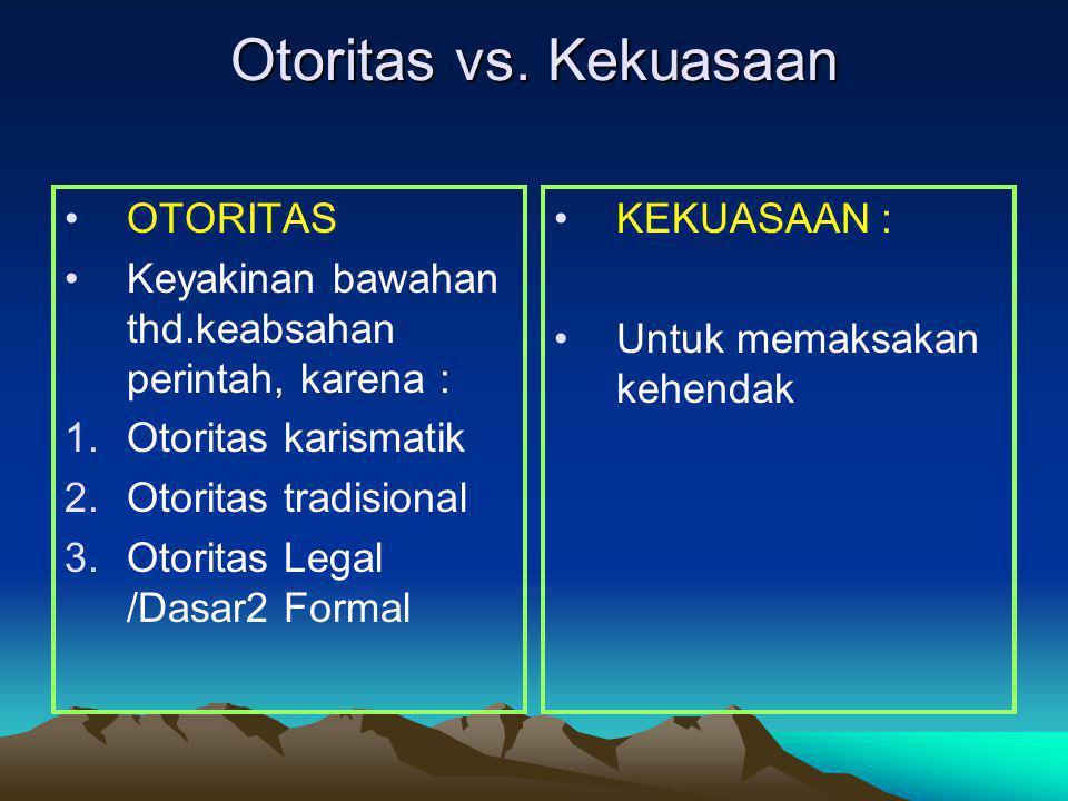 Otoritas vs. Kekuasaan OTORITAS