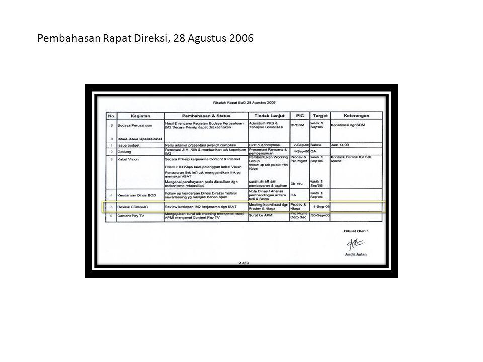 Pembahasan Rapat Direksi, 28 Agustus 2006