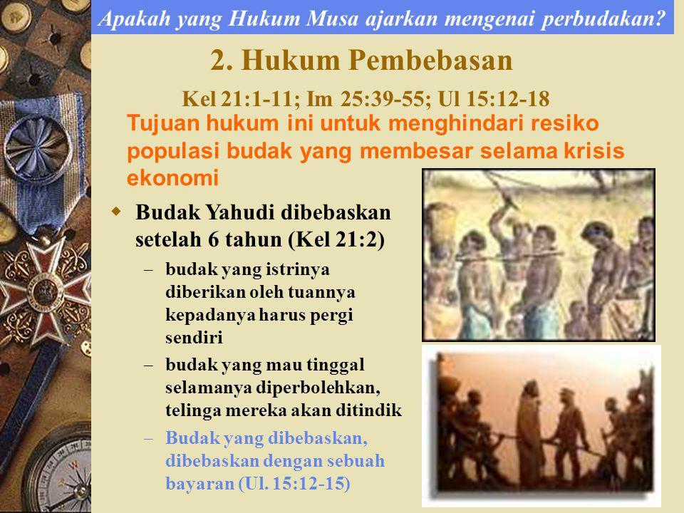 2. Hukum Pembebasan Kel 21:1-11; Im 25:39-55; Ul 15:12-18