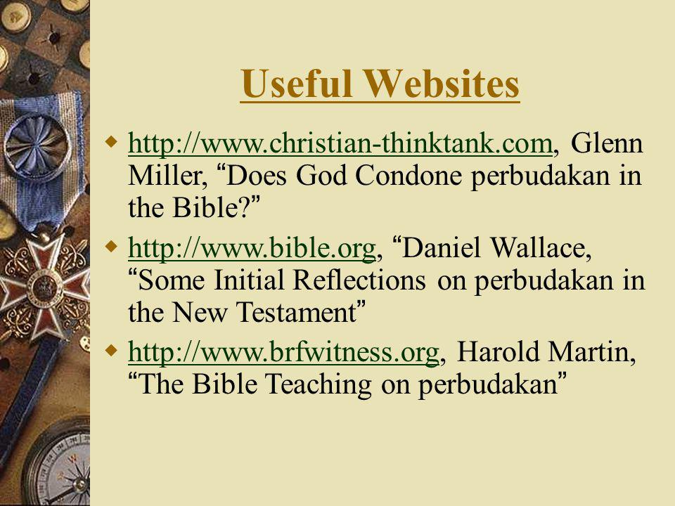 Useful Websites http://www.christian-thinktank.com, Glenn Miller, Does God Condone perbudakan in the Bible