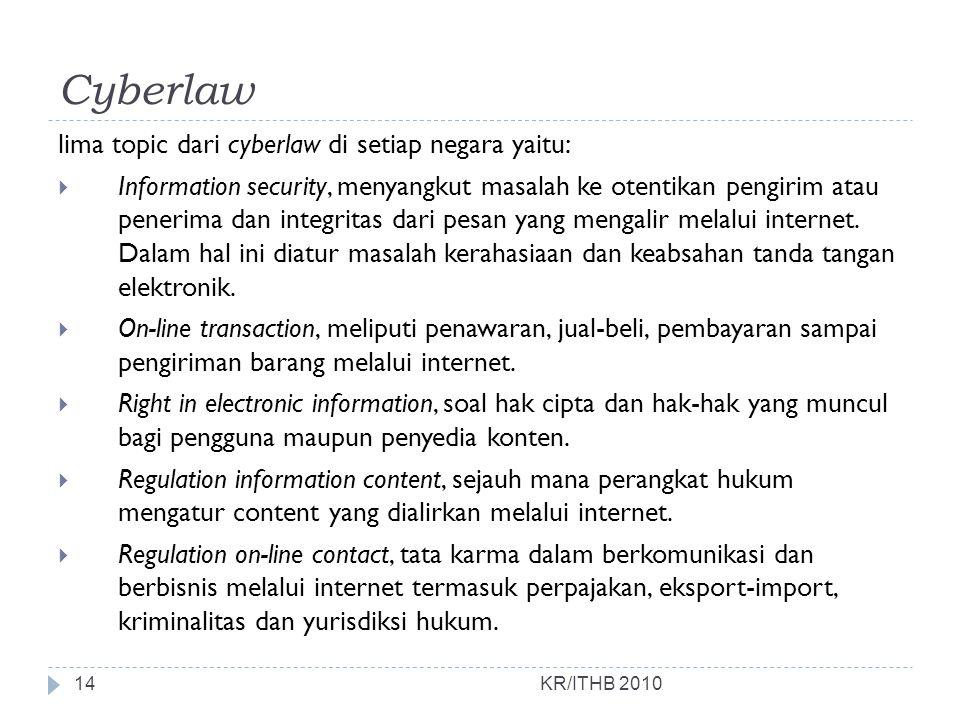 Cyberlaw lima topic dari cyberlaw di setiap negara yaitu: