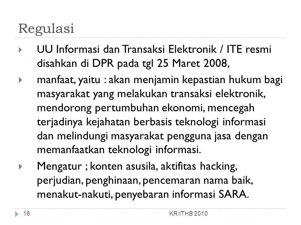 Regulasi UU Informasi dan Transaksi Elektronik / ITE resmi disahkan di DPR pada tgl 25 Maret 2008,