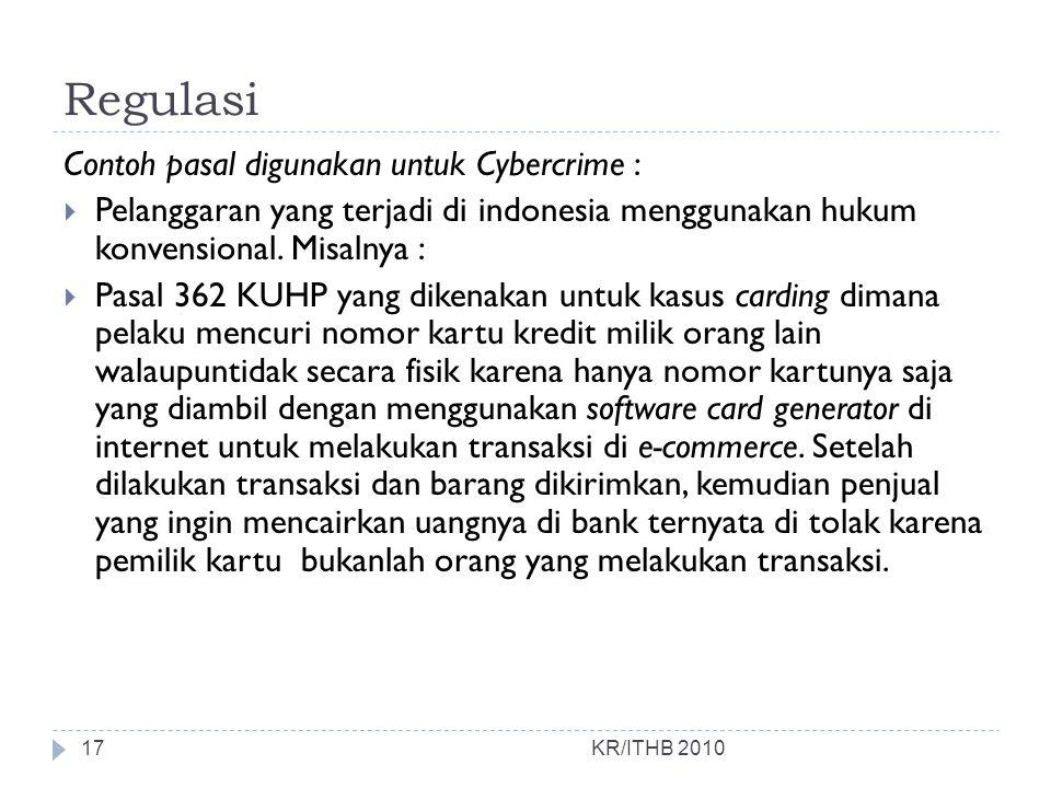 Regulasi Contoh pasal digunakan untuk Cybercrime :