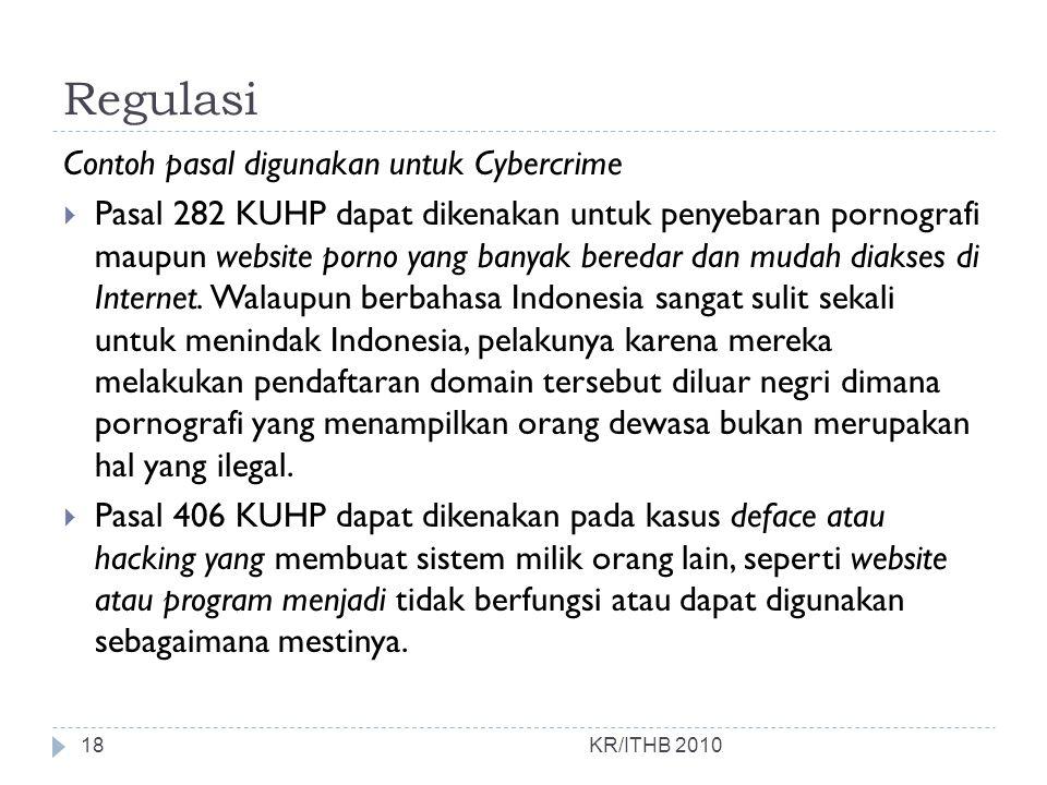 Regulasi Contoh pasal digunakan untuk Cybercrime