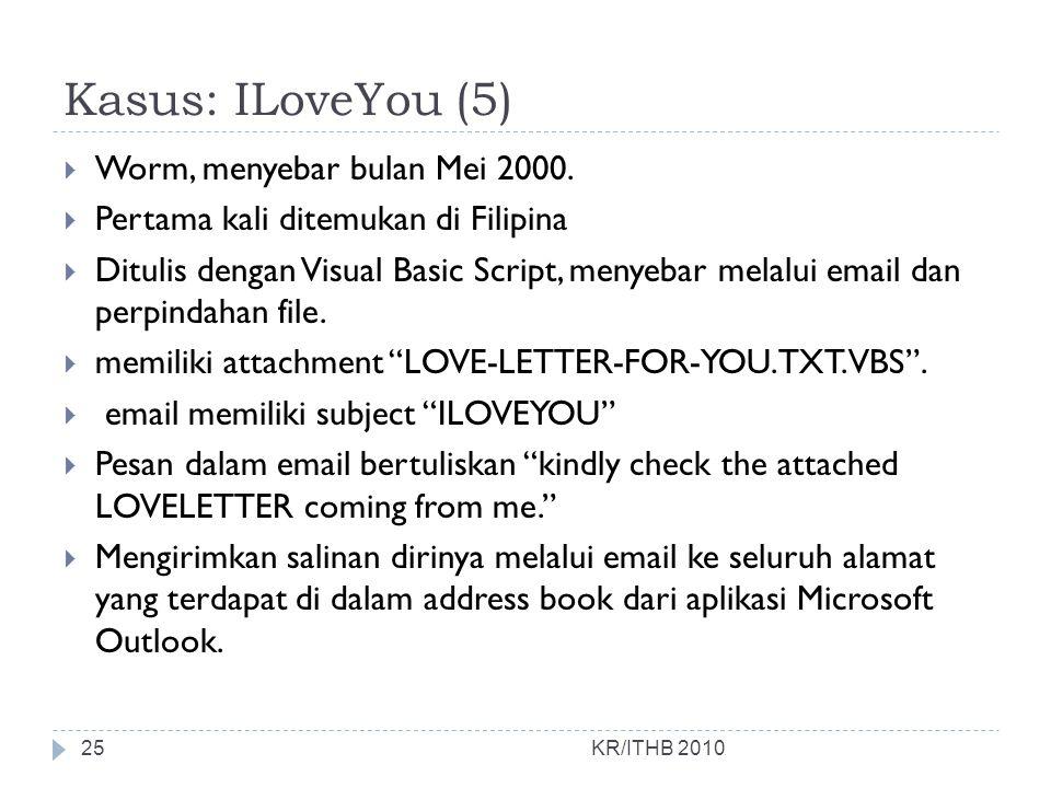 Kasus: ILoveYou (5) Worm, menyebar bulan Mei 2000.