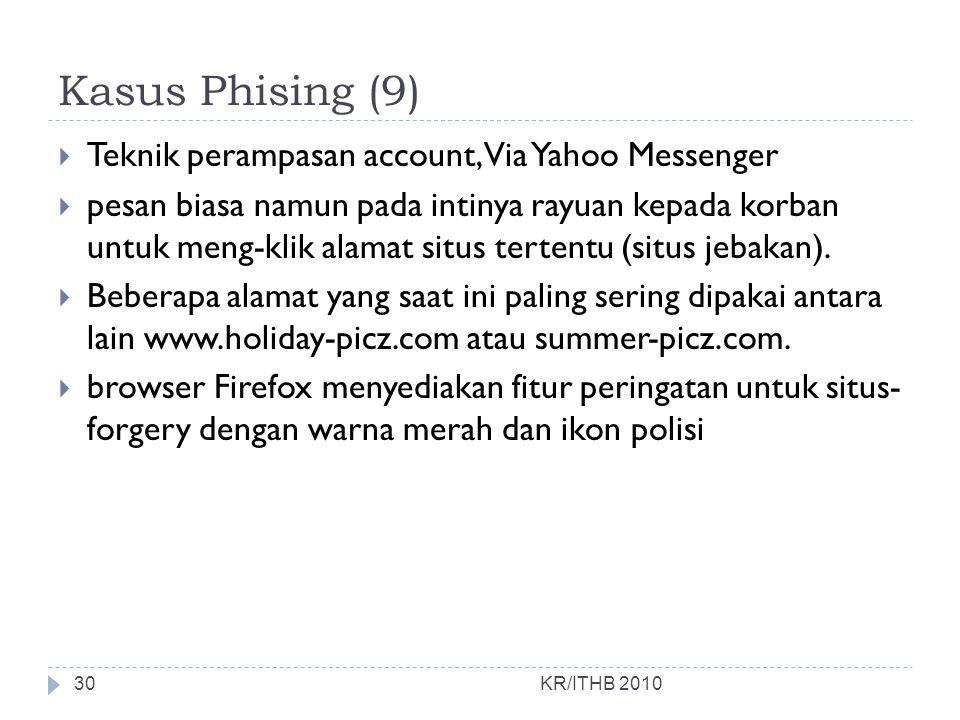 Kasus Phising (9) Teknik perampasan account, Via Yahoo Messenger