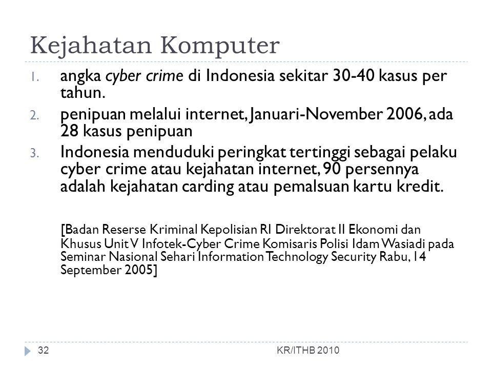 Kejahatan Komputer angka cyber crime di Indonesia sekitar 30-40 kasus per tahun.