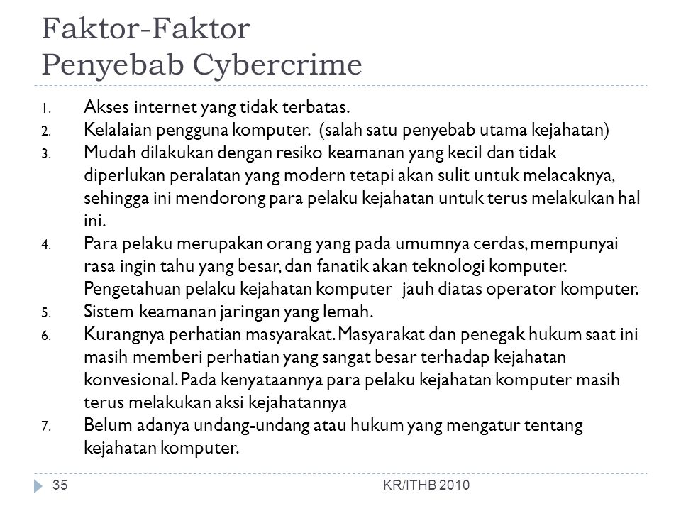 Faktor-Faktor Penyebab Cybercrime