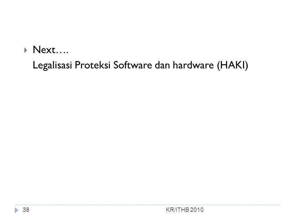 Legalisasi Proteksi Software dan hardware (HAKI)