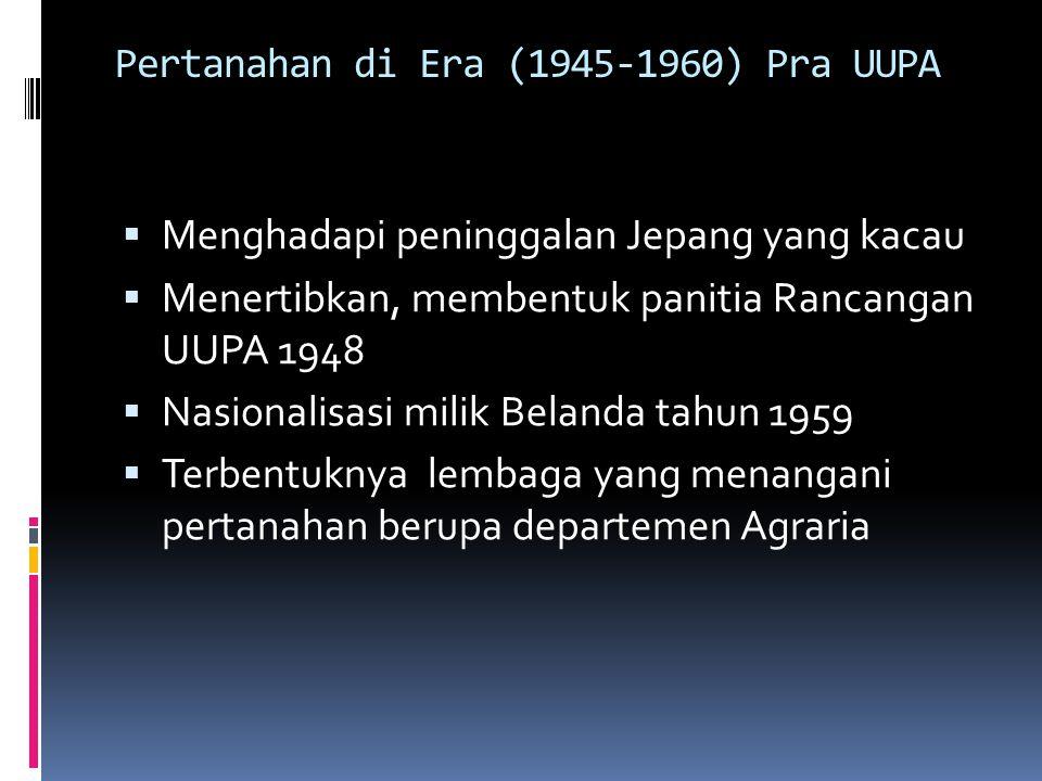 Pertanahan di Era (1945-1960) Pra UUPA