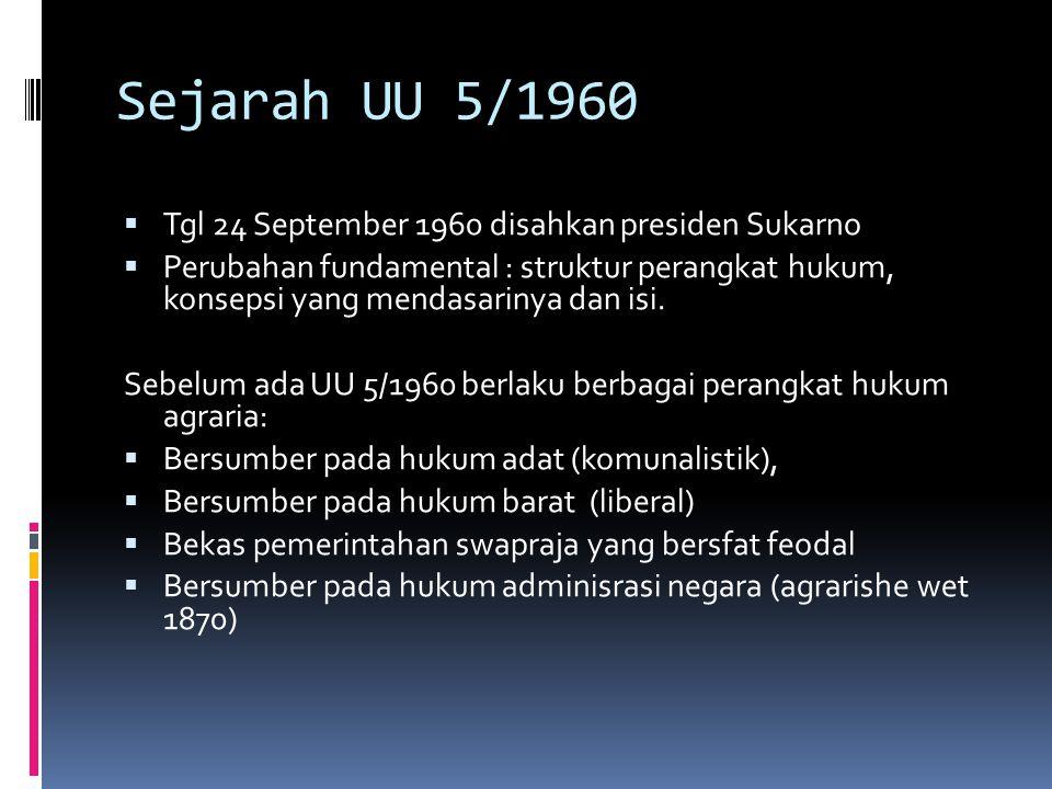 Sejarah UU 5/1960 Tgl 24 September 1960 disahkan presiden Sukarno