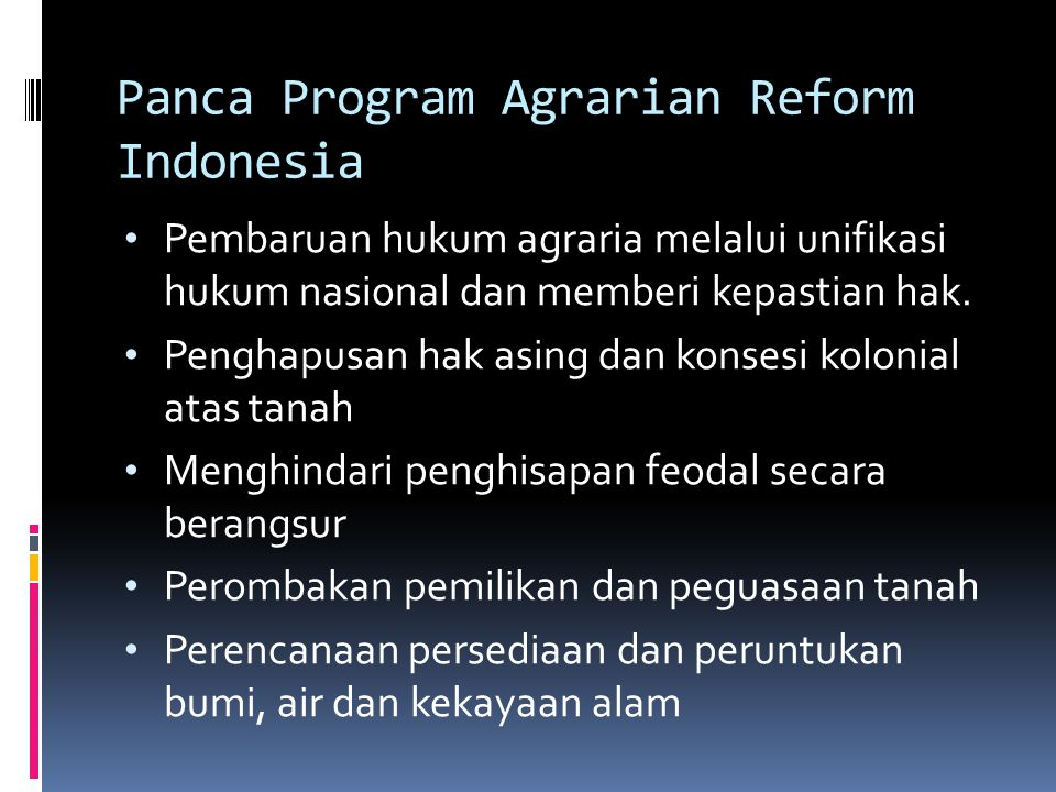 Panca Program Agrarian Reform Indonesia