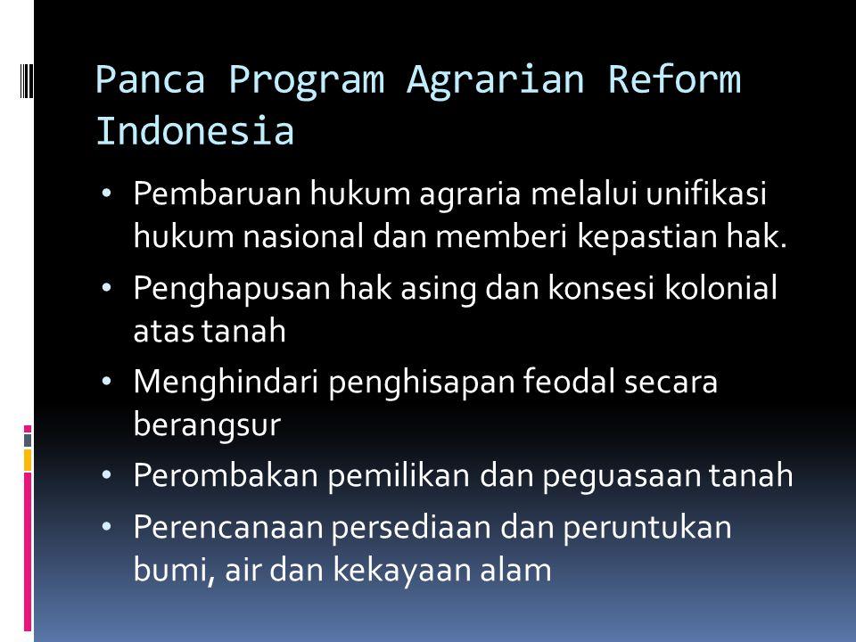Panca Program Agrarian Reform Indonesia