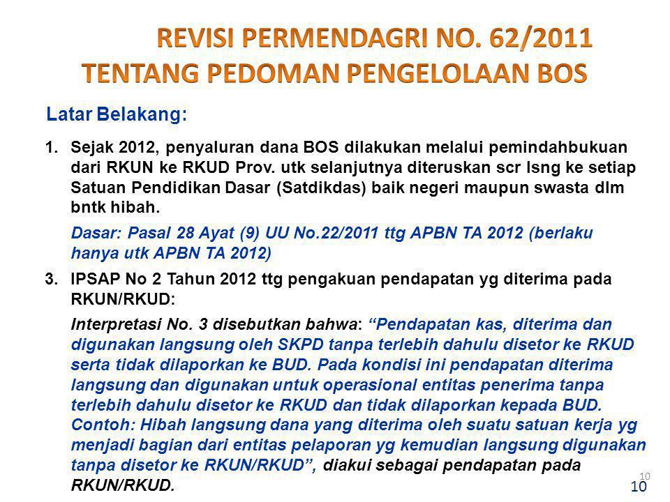 REVISI PERMENDAGRI NO. 62/2011 TENTANG PEDOMAN PENGELOLAAN BOS