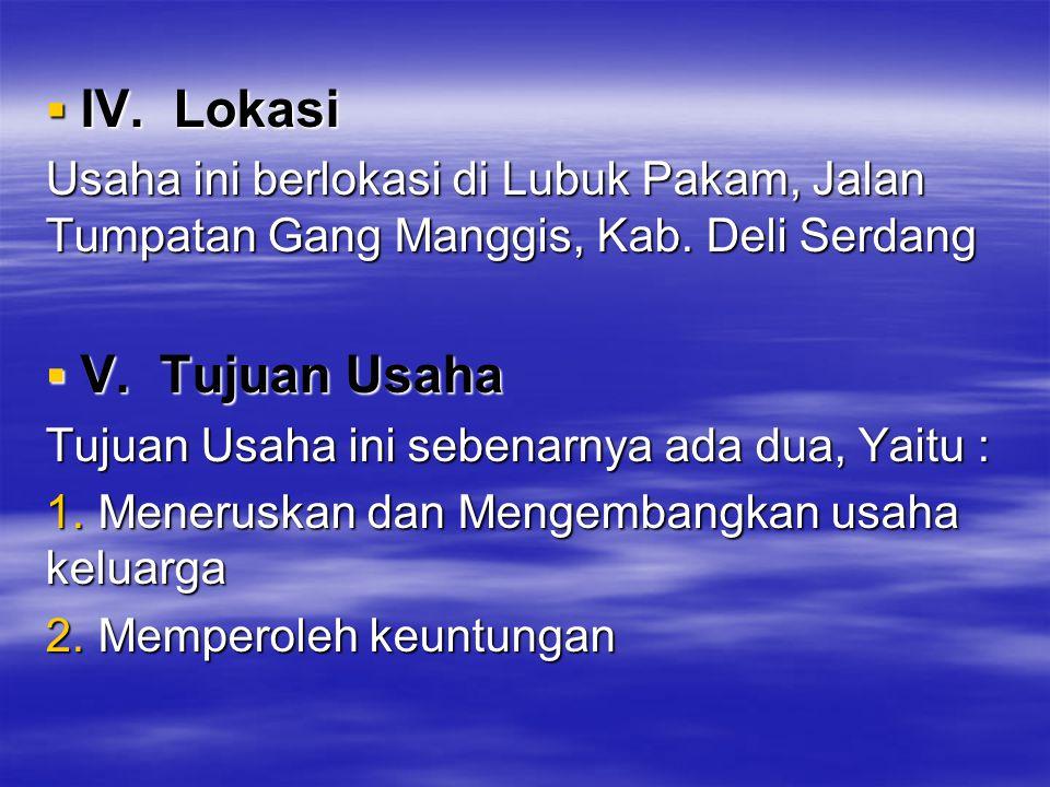 IV. Lokasi Usaha ini berlokasi di Lubuk Pakam, Jalan Tumpatan Gang Manggis, Kab. Deli Serdang. V. Tujuan Usaha.