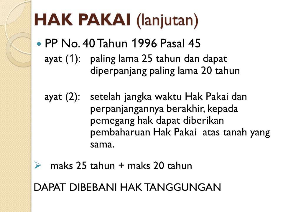 HAK PAKAI (lanjutan) PP No. 40 Tahun 1996 Pasal 45