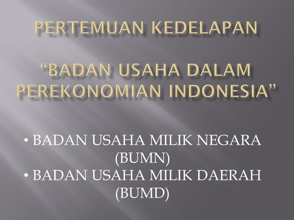 Pertemuan kedelapan BADAN USAHA DALAM PEREKONOMIAN INDONESIA
