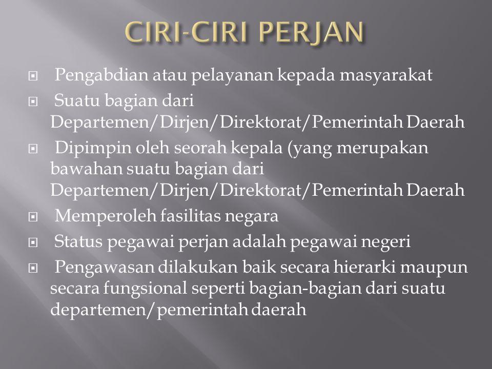 CIRI-CIRI PERJAN Pengabdian atau pelayanan kepada masyarakat