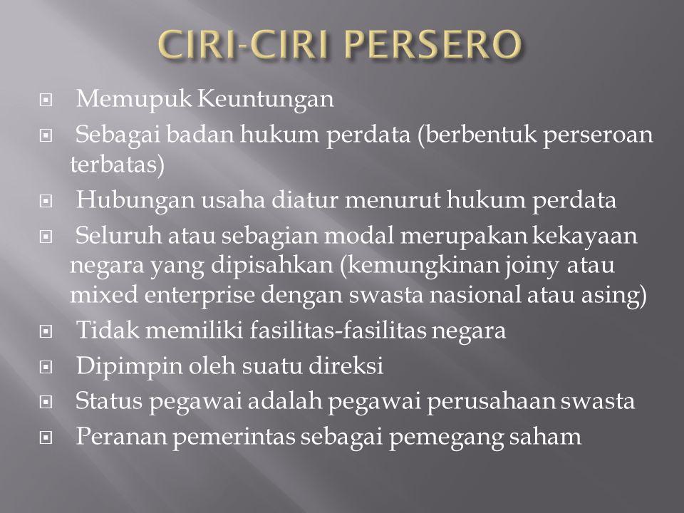 CIRI-CIRI PERSERO Memupuk Keuntungan