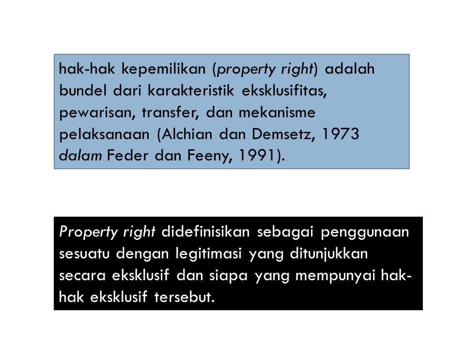 hak-hak kepemilikan (property right) adalah bundel dari karakteristik eksklusifitas, pewarisan, transfer, dan mekanisme pelaksanaan (Alchian dan Demsetz, 1973 dalam Feder dan Feeny, 1991).