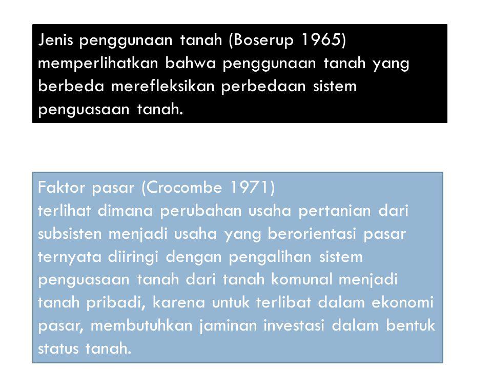 Jenis penggunaan tanah (Boserup 1965) memperlihatkan bahwa penggunaan tanah yang berbeda merefleksikan perbedaan sistem penguasaan tanah.