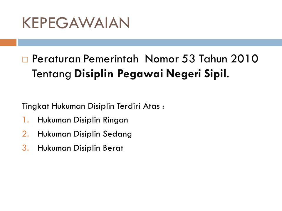 KEPEGAWAIAN Peraturan Pemerintah Nomor 53 Tahun 2010 Tentang Disiplin Pegawai Negeri Sipil. Tingkat Hukuman Disiplin Terdiri Atas :