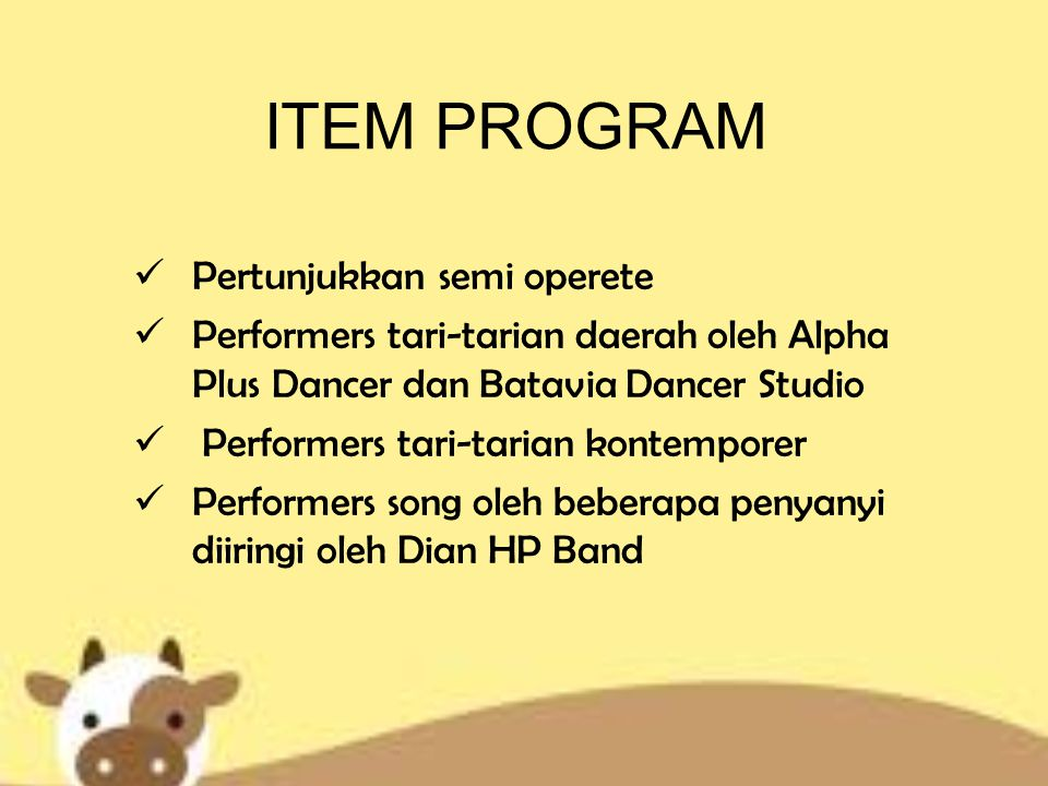 ITEM PROGRAM Pertunjukkan semi operete