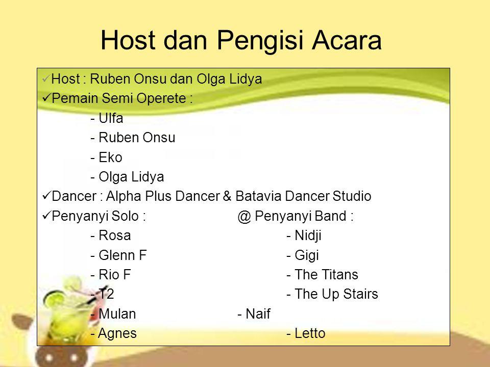 Host dan Pengisi Acara Pemain Semi Operete : - Ulfa - Ruben Onsu - Eko