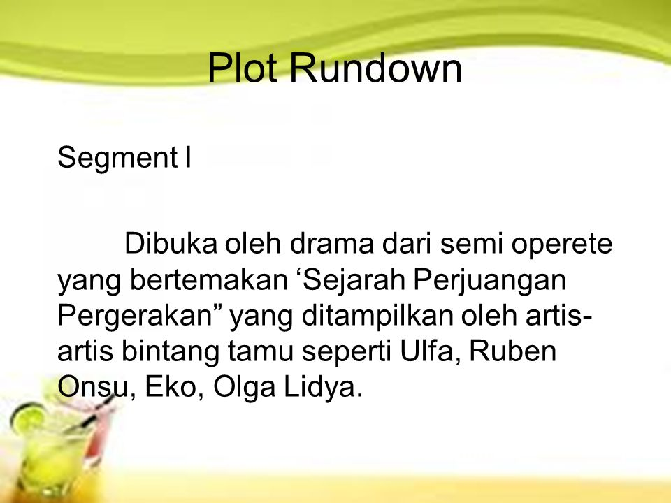 Plot Rundown Segment I.