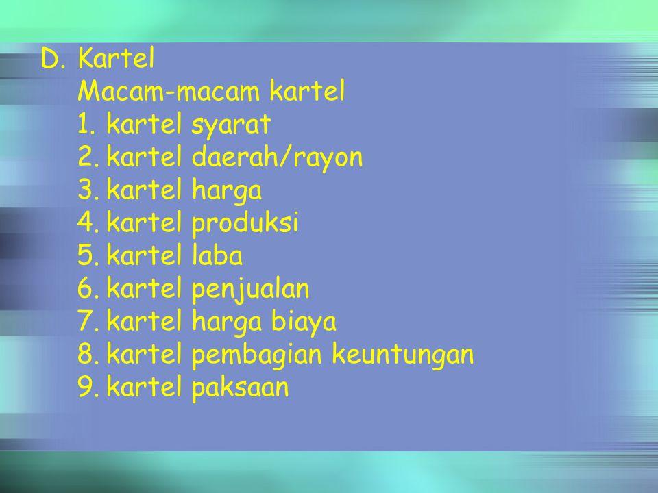 Kartel Macam-macam kartel. 1. kartel syarat. 2. kartel daerah/rayon. 3. kartel harga. 4. kartel produksi.