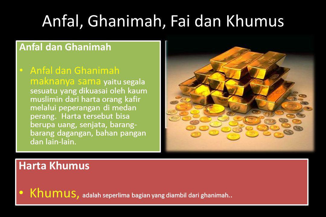 Anfal, Ghanimah, Fai dan Khumus
