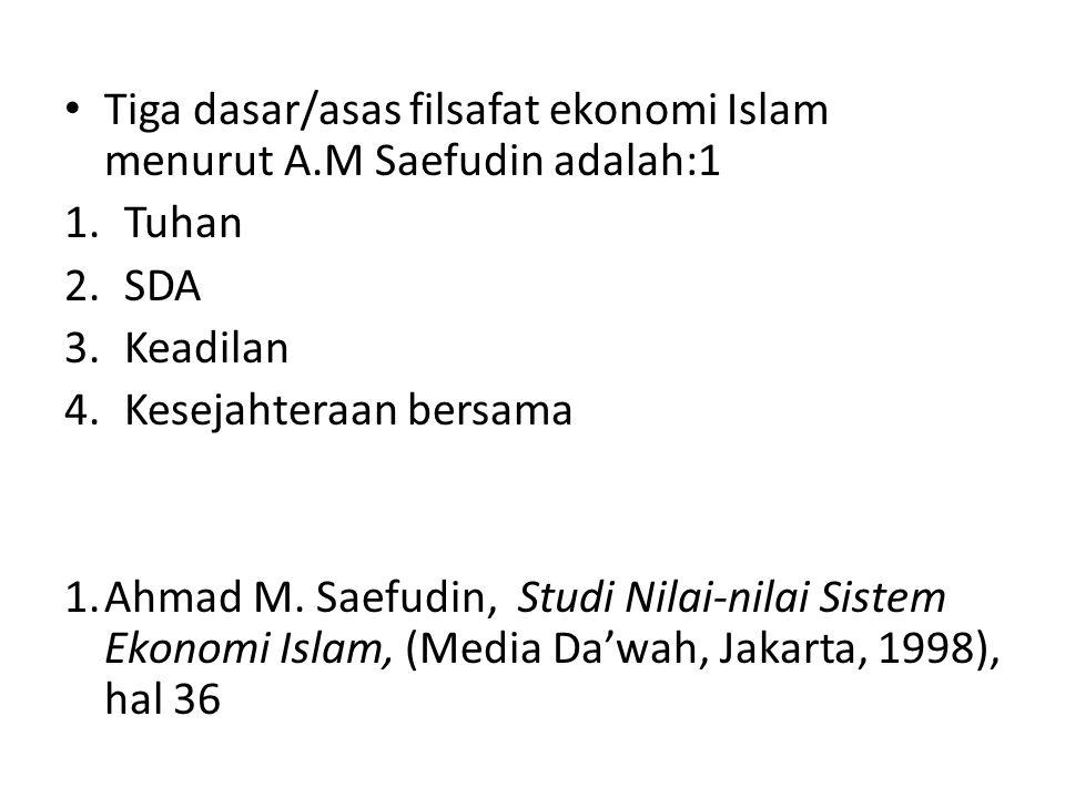 Tiga dasar/asas filsafat ekonomi Islam menurut A.M Saefudin adalah:1