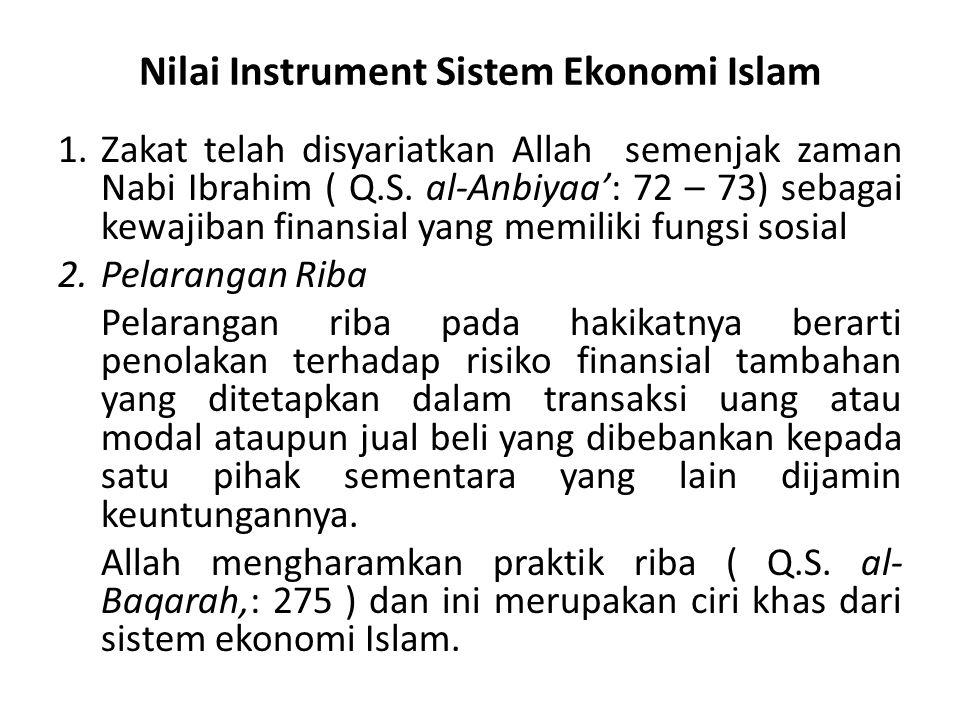 Nilai Instrument Sistem Ekonomi Islam