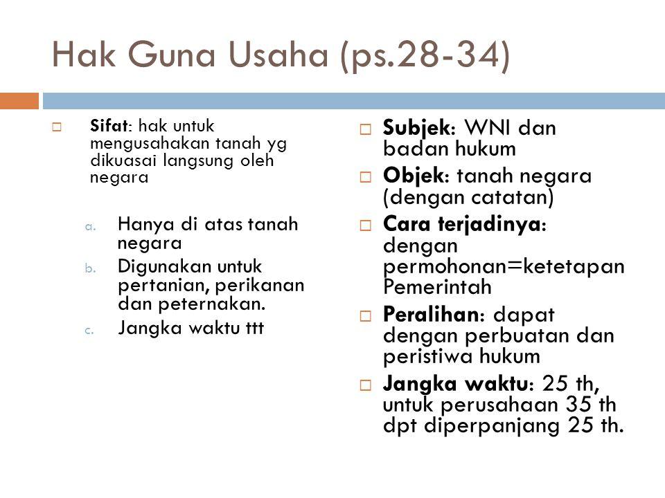 Hak Guna Usaha (ps.28-34) Subjek: WNI dan badan hukum