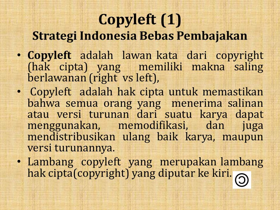 Copyleft (1) Strategi Indonesia Bebas Pembajakan