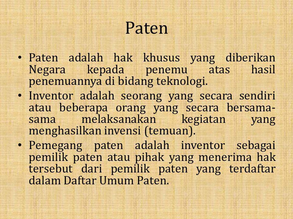 Paten Paten adalah hak khusus yang diberikan Negara kepada penemu atas hasil penemuannya di bidang teknologi.