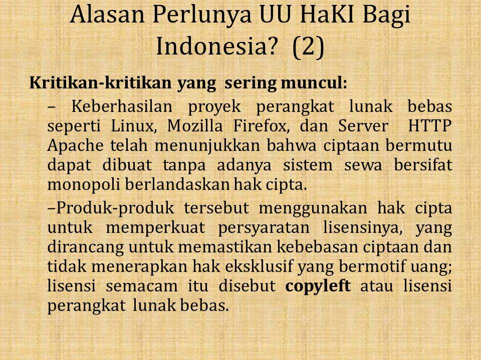 Alasan Perlunya UU HaKI Bagi Indonesia (2)