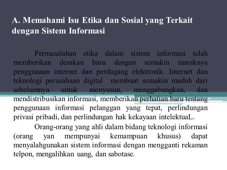 A. Memahami Isu Etika dan Sosial yang Terkait dengan Sistem Informasi