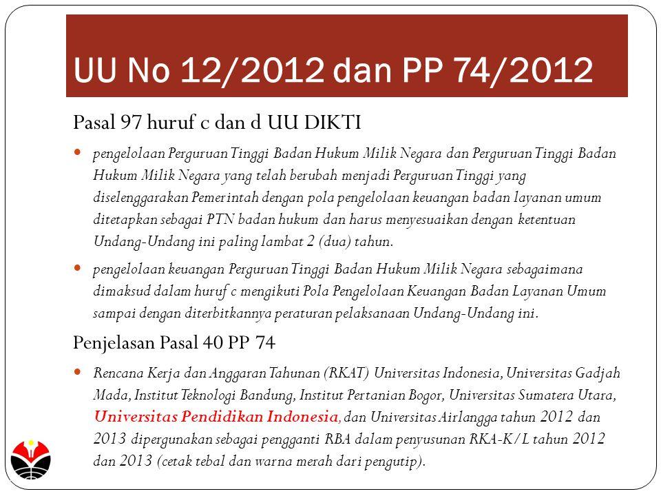 UU No 12/2012 dan PP 74/2012 Pasal 97 huruf c dan d UU DIKTI