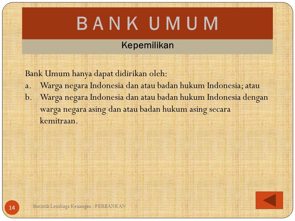 B A N K U M U M Kepemilikan Bank Umum hanya dapat didirikan oleh: