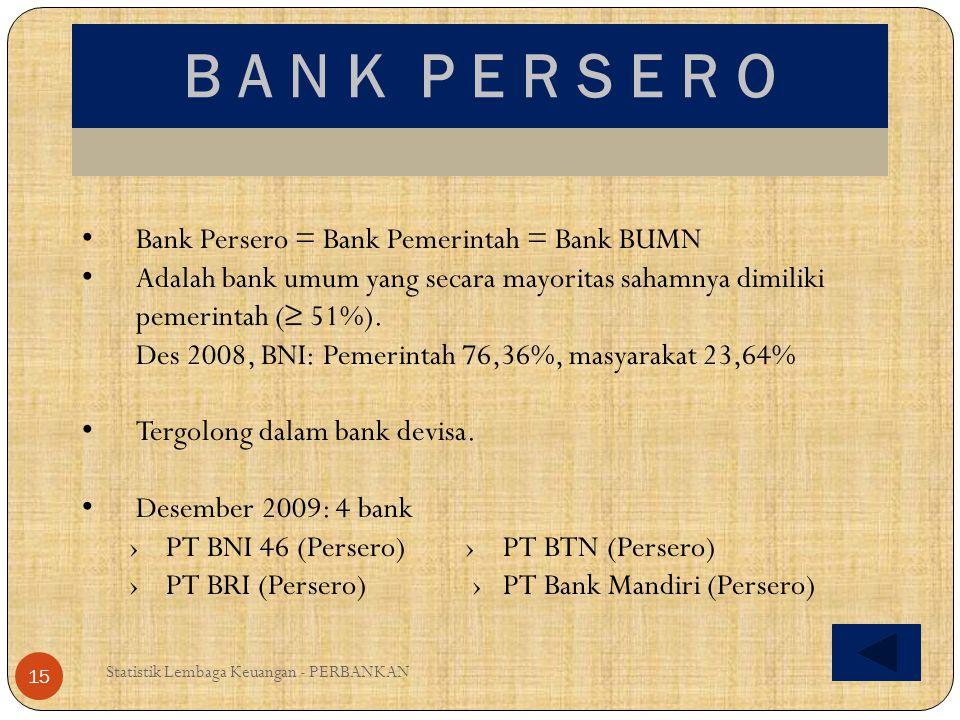 B A N K P E R S E R O Bank Persero = Bank Pemerintah = Bank BUMN