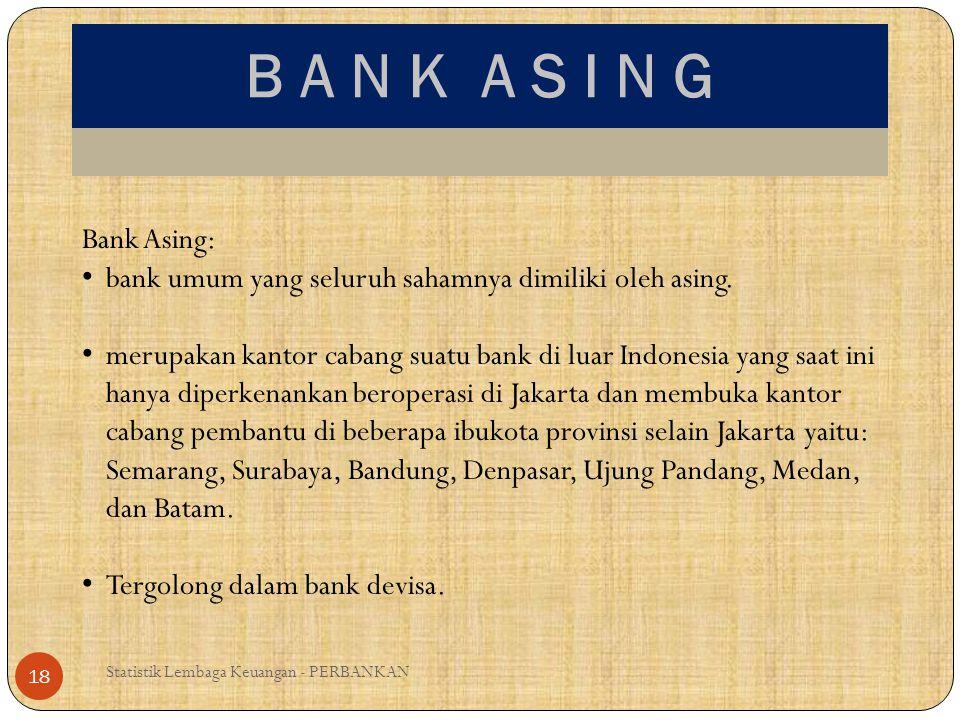 B A N K A S I N G Bank Asing: bank umum yang seluruh sahamnya dimiliki oleh asing.